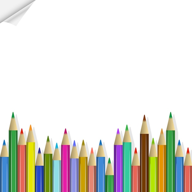 Back to school, colored pencils Premium Vector