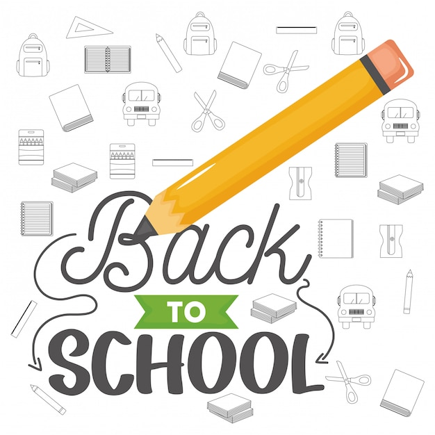 Back to school composition design Free Vector