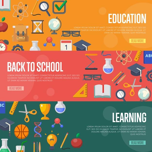 Back to school concept banner template Premium Vector