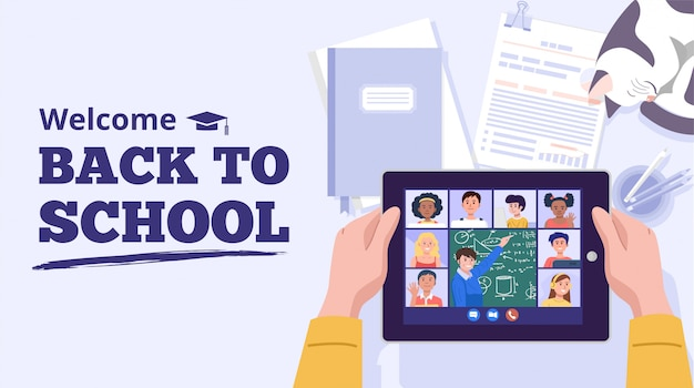 Back to school concept. a boy learning with computer at home. vector Premium Vector