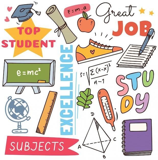 Back to school concept doodle background Premium Vector