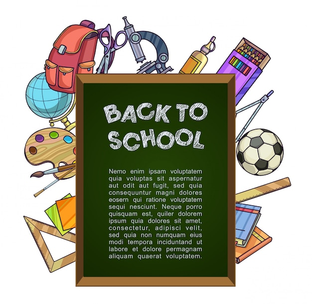 Back to school concept. green chalkboard with school supplies. Premium Vector