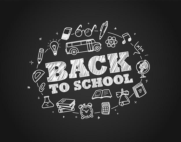 Back to school concept. hand drawn elements. chalk on schooldesk Premium Vector