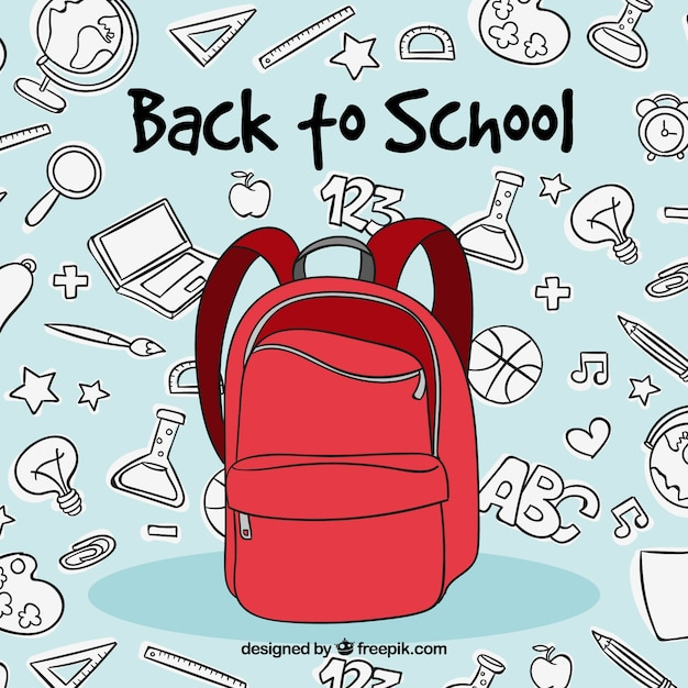 Back to school concept with red backpack Free Vector