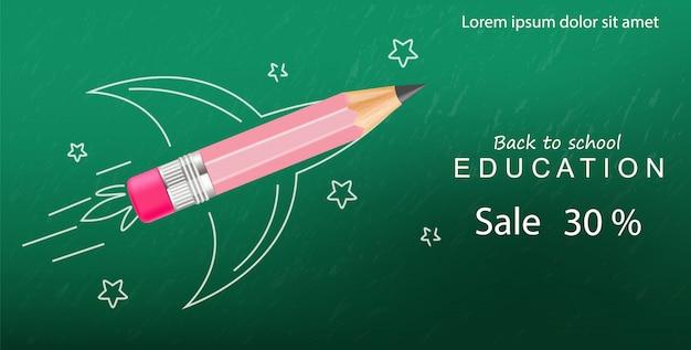 Back to school creative crayon rocket, sale banner template Premium Vector