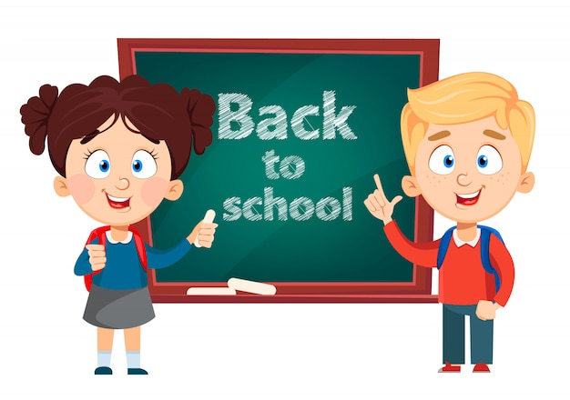 Back to school. cute boy and girl Premium Vector