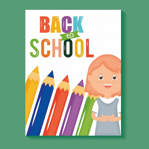 Back to school. cute little student girl with colors pencils Free Vector