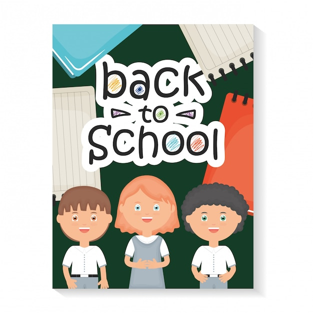 Back to school. cute little students with back to school message Free Vector