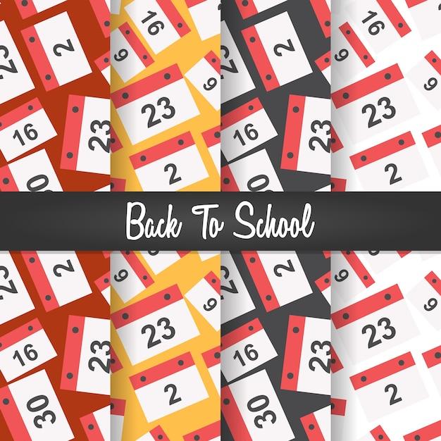 Back to school date calender seamless pattern Premium Vector