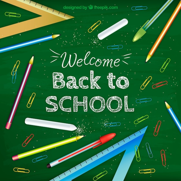 Back to school design on chalkboard Free Vector