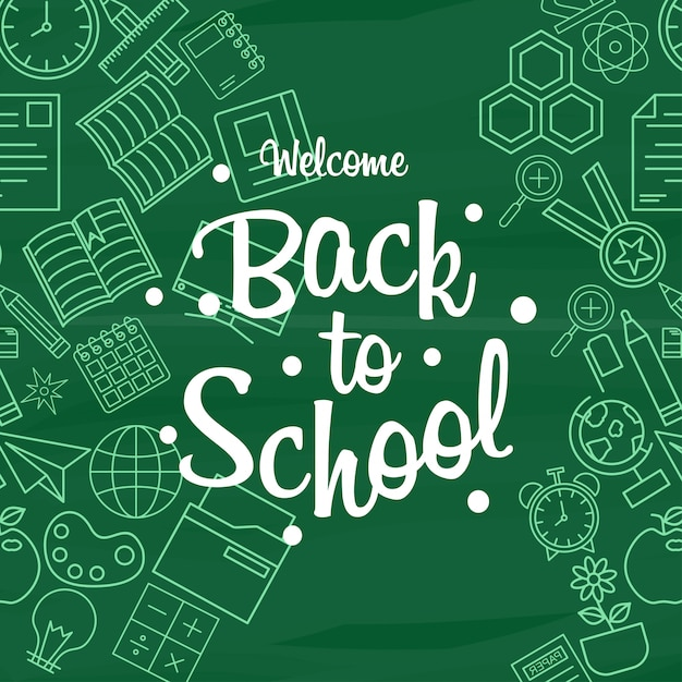 Back to school design element vector with green background Free Vector
