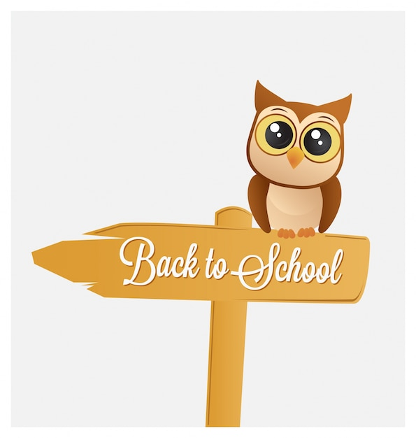 Back to school design with cute owl on a sign Free Vector