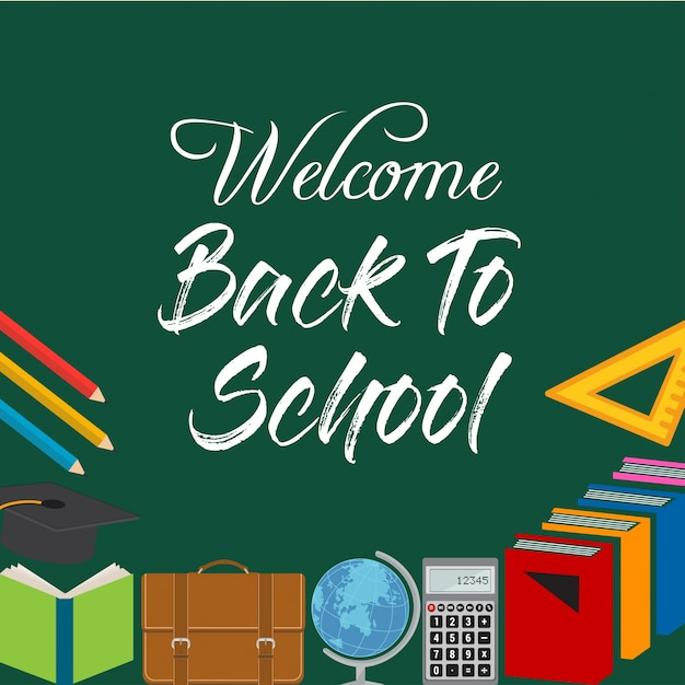 Back to school design with flat school objects Free Vector