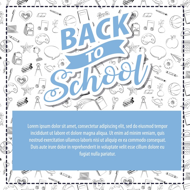 Back to school different school elements illustration Free Vector