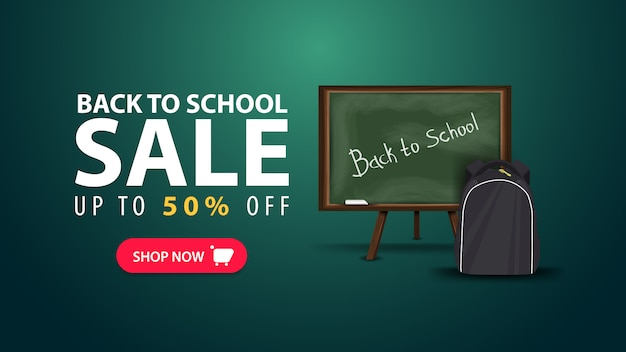 Back to school, discount web banner in minimalist style with school board Premium Vector