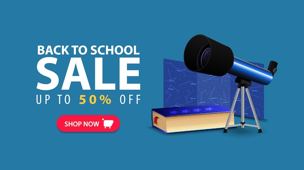 Back to school, discount web banner in minimalist style with telescope Premium Vector