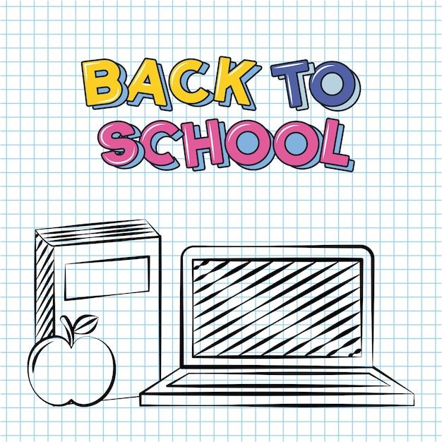Back to school doodle school elements a book a computer an aplee illustration Free Vector