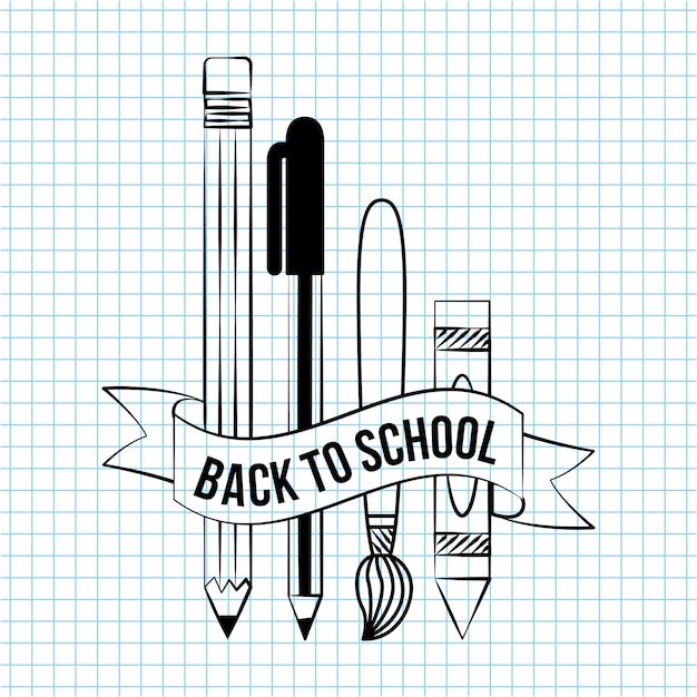 Back to school doodle school elements things to write over a notebook paper illustration Free Vector