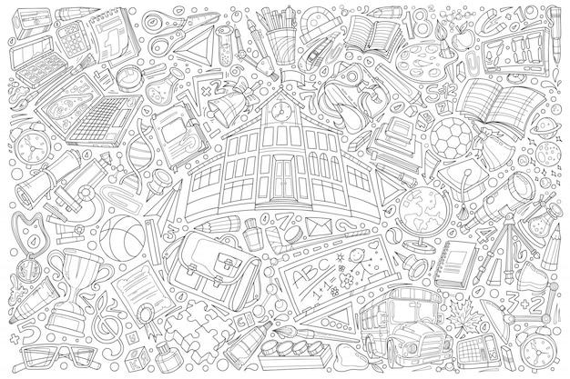Back to school doodle set  illustration background Premium Vector