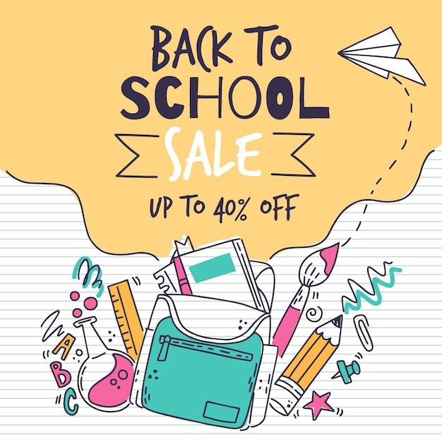 Back to school drawing Free Vector