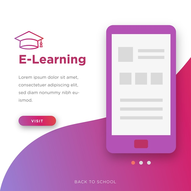 Back to school e-learning Premium Vector