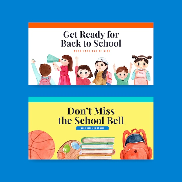 Back to school and education banner template Free Vector