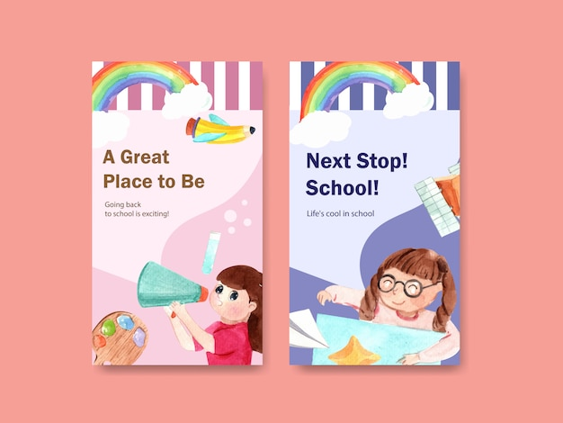Back to school and education concept with instagram story template Free Vector