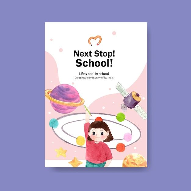 Torna al concetto di scuola e istruzione con modello di poster. Vettore gratuito