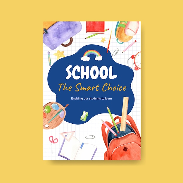 Back to school and education concept with poster template. Free Vector