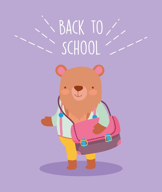 Back to school education cute bear with bag and clothes Premium Vector