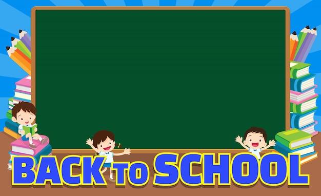 Back to school empty  blackboard Premium Vector