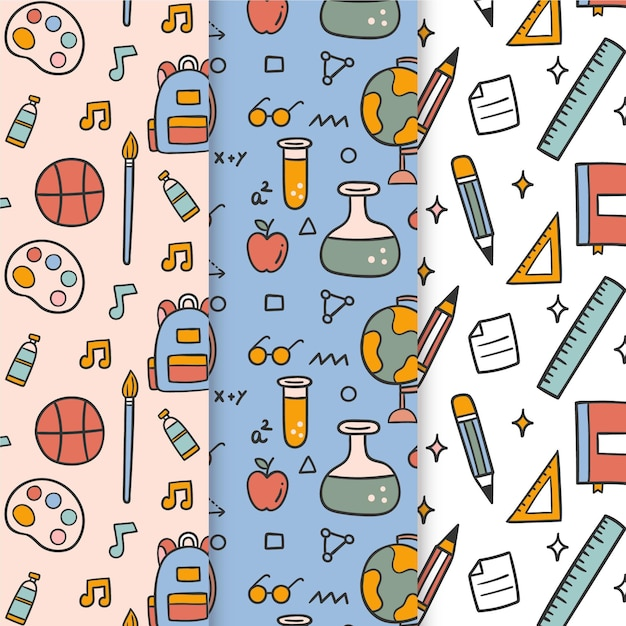 Back to school event pattern set Free Vector