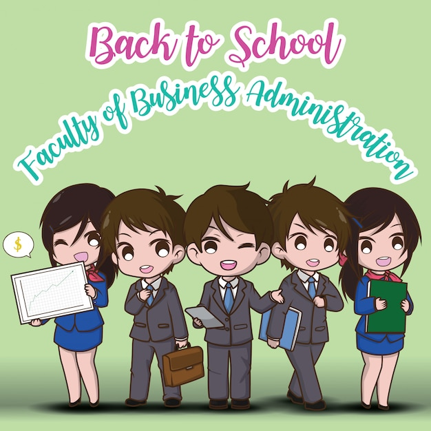 Back to school. faculty of business administration.  cute businessman cartoon. Premium Vector