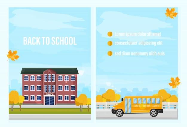 Back to school fall template. autumn school facade and school bus Premium Vector