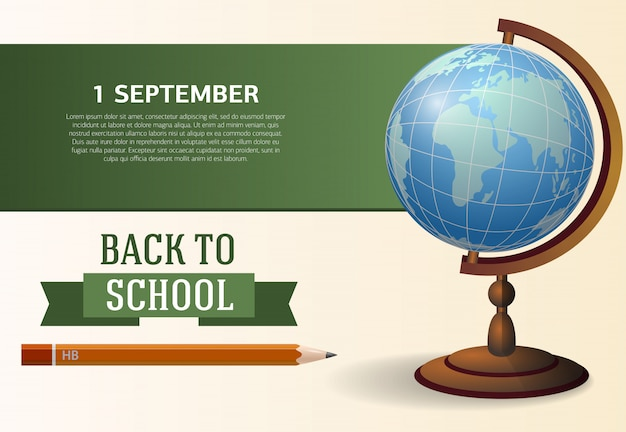 Back to school, first of september poster design with globe Free Vector