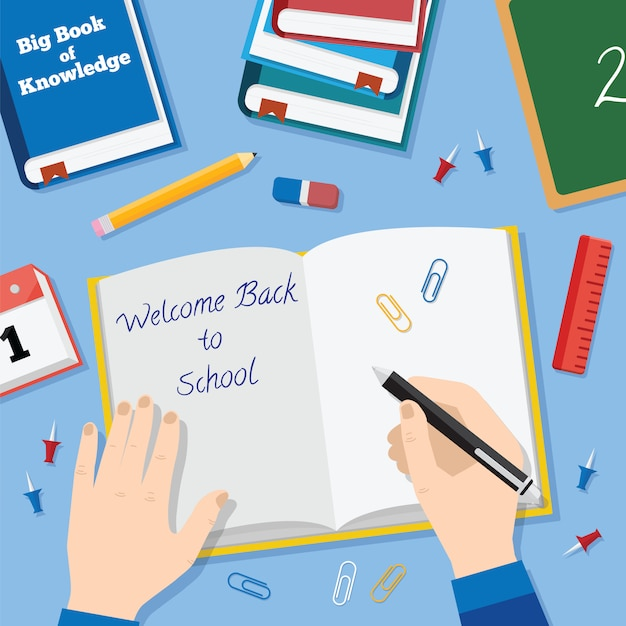 Back to school flat style background with books pencils pen and other stationary Premium Vector