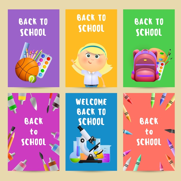 Back to school flyers with backpack, student girl Free Vector