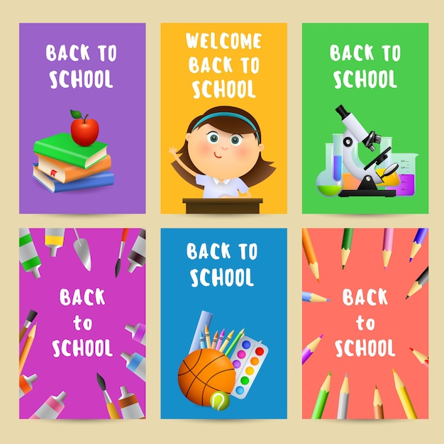 Back to school flyers with chemical flasks Free Vector