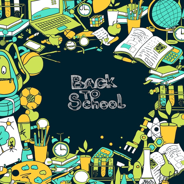 Back to school frame Free Vector