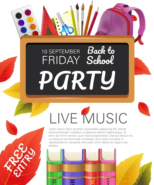 Back to school, free entry party flyer design Free Vector