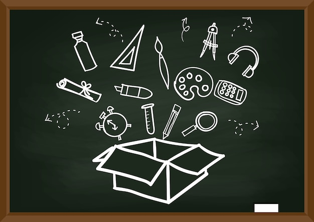 Back to school freehand drawing items on a black chalkboard. Premium Vector