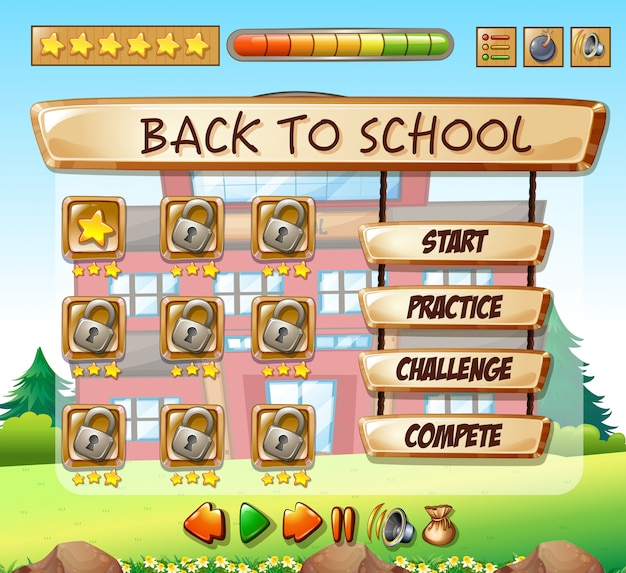 Back to school game template Vector | Free Download