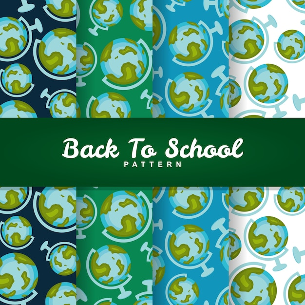 Back to school globe earth seamless pattern Premium Vector