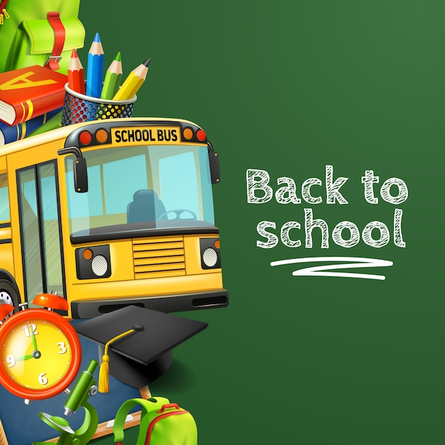 Back to school green background with bus pencils books and clock Free Vector