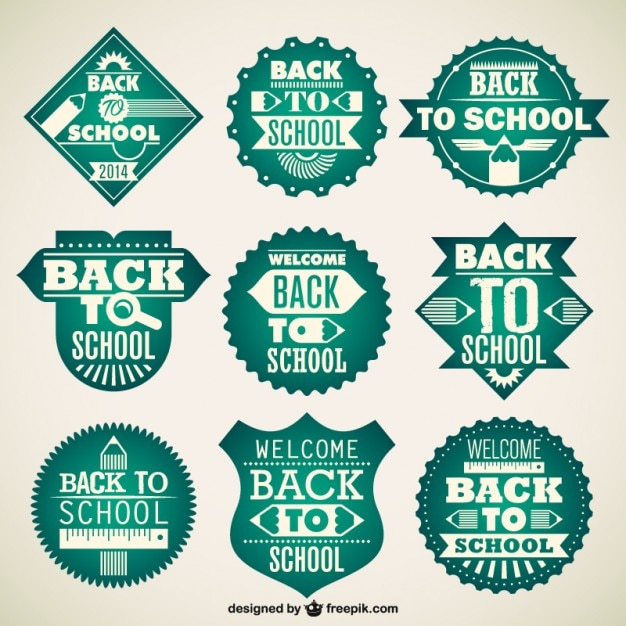 Back to school green badges Free Vector