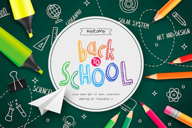 Back to school in a green chalkboard Free Vector