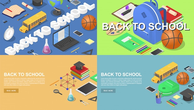 Back to school green desk tools supplies banner concept set Premium Vector