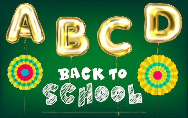 Back to school green poster Premium Vector