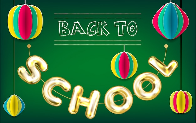 Back to school green poster Premium Vector