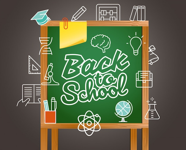 Back to school greeting card. Premium Vector